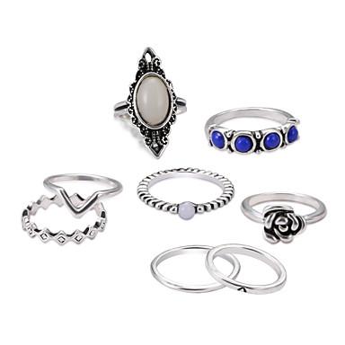 levne Dámské šperky-Dámské Sada kroužků Midi prsteny Stohovatelné kroužky Safír Měsíční kámen 8ks Stříbrná Slitina Circle Shape dámy Classic Lolita Wa Lolita Promoce Obřad Šperky Duté Cool Půvab