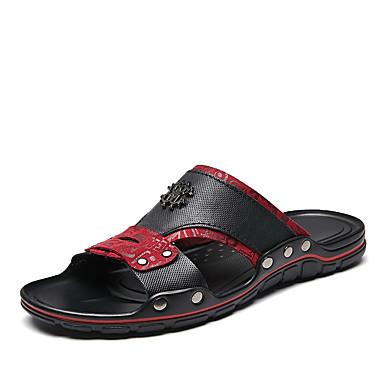 בגדי ריקוד גברים נעלי נוחות עור נאפה Leather קיץ קלסי / יום יומי כפכפים & כפכפים הליכה נושם שחור לבן / שחור אדום