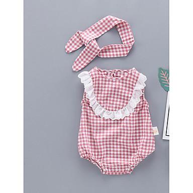 preiswerte Einteiler für kleine Mädchen-Baby Unisex Grundlegend Schachbrett Ärmellos Einzelteil Rosa