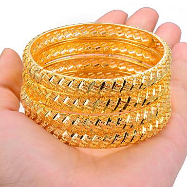 preiswerte Armreifen Armband-4pcs Damen Armreife Manschetten-Armbänder Skulptur damas Ethnisch Dubai Italienisch vergoldet Armband Schmuck Gold / Gelb Für Party Geschenk
