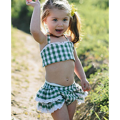 Baby Jente Grunnleggende Daglig Ruter Ermeløs Kort Tøysett Grønn