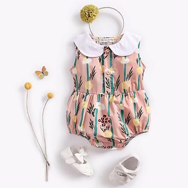 povoljno Odjeća za bebe-Dijete Djevojčice Osnovni Dnevno Prugasti uzorak / Cvjetni print Cvijetan / Osnovni Bez rukávů Pamuk Jednodijelno Blushing Pink