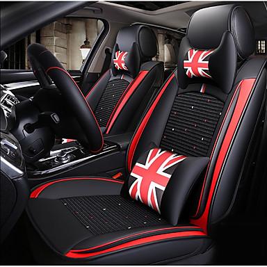 voordelige Auto-interieur accessoires-zwart rood britse stijl autostoelhoes met 2 hoofdsteun, 2 heupkussens en 1 stuurhoes voor 5-zits auto / pu leer en ijszijde materialen / airbag compatibel / verstelbaar