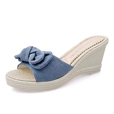 Mulheres Sandálias Salto Plataforma Peep Toe Laço Lona Doce Caminhada Primavera Verão / Outono & inverno Preto / Azul