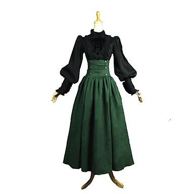 Prinsesse Rokoko Victoriansk Kostymer i middelalderstil Wasp-innsnevrede Kjoler Drakter Dame Kostume Grønn / Svart Vintage Cosplay Langermet Ankellang Store størrelser Tilpasset