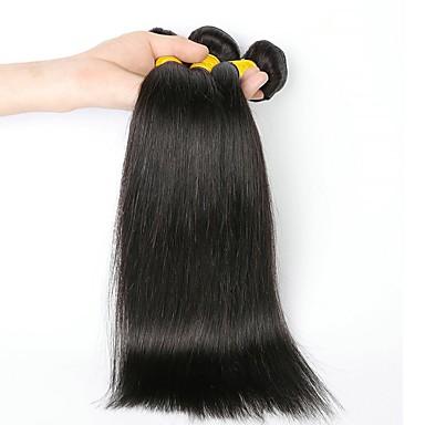 povoljno Ekstenzije od ljudske kose-3 paketa Indijska kosa Ravan kroj Ljudska kosa Ljudske kose plete Ekstenzije od ljudske kose 8-28 inch Prirodna boja Isprepliće ljudske kose Modni dizajn Novi Dolazak Proširenja ljudske kose / 8A