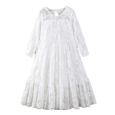 cheap Baby & Kids-Kids Girls' Active Sweet Holiday Going out Solid Colored Lace Bow Embroidered 3/4 Length Sleeve Maxi Dress White / Mesh