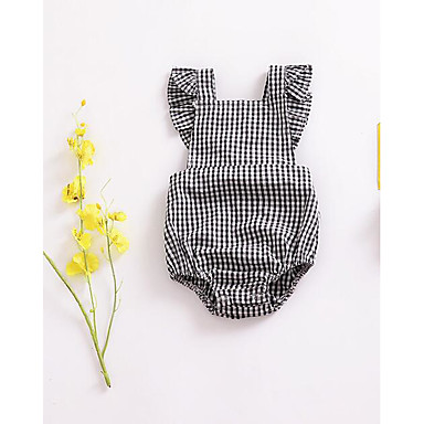 cheap Baby Girls' One-Piece-Baby Unisex Basic Check Sleeveless Romper Black / Toddler
