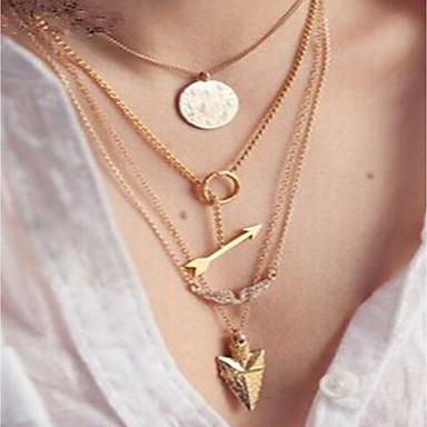 levne Dámské šperky-Dámské Řetízky vrstvené Náhrdelníky Silný řetězec Karma náhrdelník Andělská křídla Arrow Prohlášení dámy Módní Disko Slitina Zlatá 39 cm Náhrdelníky Šperky 4ks Pro Dovolená Jdeme ven