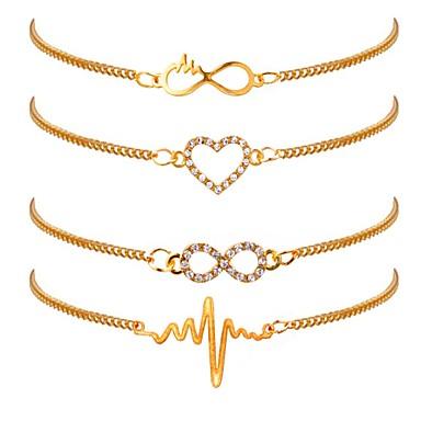 levne Dámské šperky-4ks Dámské Řetězové & Ploché Náramky Srdce Srdeční frekvence dámy Klasické Módní Pozlacené Náramek šperky Zlatá Pro Denní Kancelář a kariéra