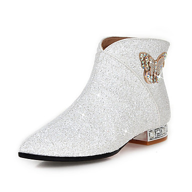 49c9b0a31a2 Women s Shoes Faux Leather Fall   Winter Fashion Boots   Bootie Boots Low  Heel Pointed Toe Booties   Ankle Boots Bowknot   Sequin   Sparkling Glitter  White ...