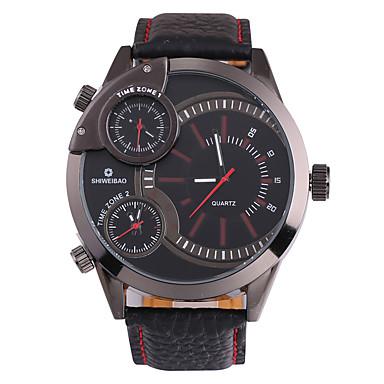 levne Pánské-SHI WEI BAO Pánské Sportovní hodinky Vojenské hodinky Navy Seal Watch japonština Křemenný Kůže Černá Hodinky s trojitým časem Velký ciferník Analogové Luxus Módní - Black  / Red Rose Jeden rok
