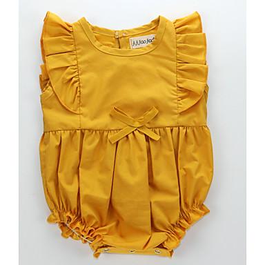 preiswerte Einteiler für kleine Mädchen-Baby Unisex Grundlegend Alltag Solide Schleife / Gerüscht Ärmellos Baumwolle Body Braun