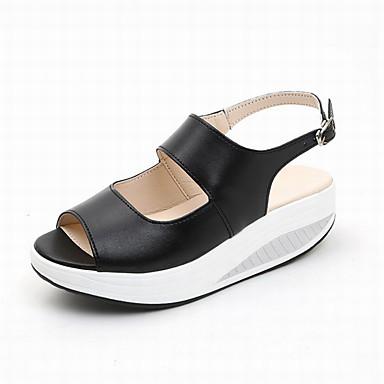 Verano Zapatos Cuero Talón Sintético Sandalias Descubierto Mujer Oqg7FO