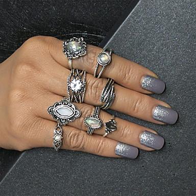 billige Motering-Dame Ring Set Midiringe Stable Ringer Månesten 8pcs Sølv Legering Oval damer Vintage Europeisk Daglig Smykker Multi Layer Blad Formet
