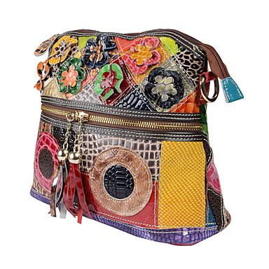 cheap Animal Print-Women's Tassel Cowhide Shoulder Messenger Bag Rainbow / Fall & Winter