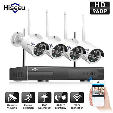 povoljno Zaštita i sigurnost-hiseeu® 4ch bežični 1080p sa ip66 vodootporan 4pcs 2p ip kamera noću pokret detekcije vodootporan pal / ntsc daljinski nadzor gledanje bežična veza mobilni pristup višejezični