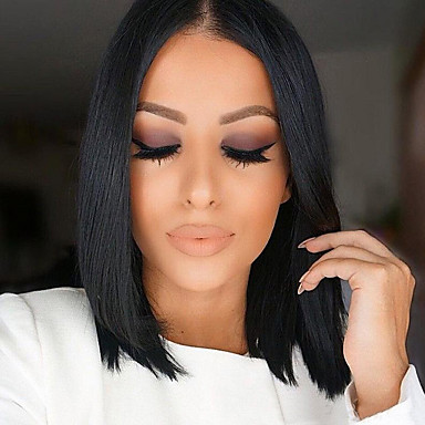 Human Hair Lace Front Wig Bob Middle Part Free Part Kardashian style Brazilian Hair Straight Natural Black Wig 130% Density 10-16 inch Baby Hair Natural Hairline Pre-Plucked Women's Short Medium