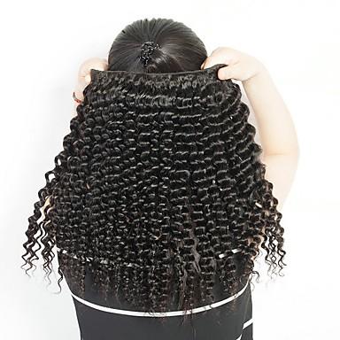 4 pakker Peruviansk hår Krøllet Ekte hår Menneskehår Vevet Hairextensions med menneskehår 8-28 tommers Naturlig Farge Hårvever med menneskehår Beste kvalitet Ny ankomst Hairextensions med menneskehår