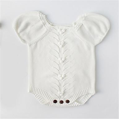 preiswerte Einteiler für kleine Mädchen-Baby Unisex Grundlegend Solide Kurze Ärmel Einzelteil Weiß