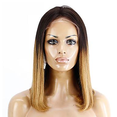 Remy Menneskehår Blonde Forside Parykk Bobfrisyre Kort bob Rihanna stil Brasiliansk hår Rett Brun Parykk 130% Hair Tetthet med baby hår Myk Silkete Dame Naturlig hårlinje Dame Kort Blondeparykker med