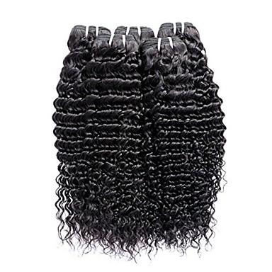 6 pakker Peruviansk hår Krøllet Ekte hår Menneskehår Vevet Hairextensions med menneskehår 8-28 tommers Naturlig Farge Hårvever med menneskehår Stilig Design Beste kvalitet Hot Salg Hairextensions med