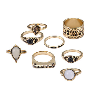 levne Dámské šperky-Pro páry Band Ring Sada kroužků Safír 8ks Zlatá Napodobenina perel Kámen Slitina Circle Shape dámy Cikánské Rococo Párty Halloween Šperky Provaz Cool Půvab
