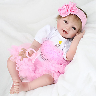 cheap Reborn Doll-NPK DOLL 22 inch Reborn Doll Girl Doll Baby Girl Reborn Baby Doll lifelike Hand Made Child Safe Non Toxic Tipped and Sealed Nails Cloth 3/4 Silicone Limbs and Cotton Filled Body with Clothes and