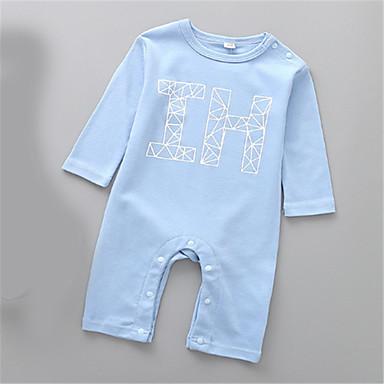 Baby Gutt Grunnleggende Ensfarget Langermet Endelt Blå