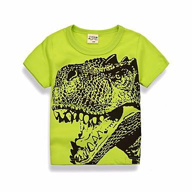 povoljno Odjeća za dječake-Djeca Dječaci Osnovni Dnevno Jednobojni Geometrijski oblici Print Kratkih rukava Regularna Pamuk Bluza Djetelina