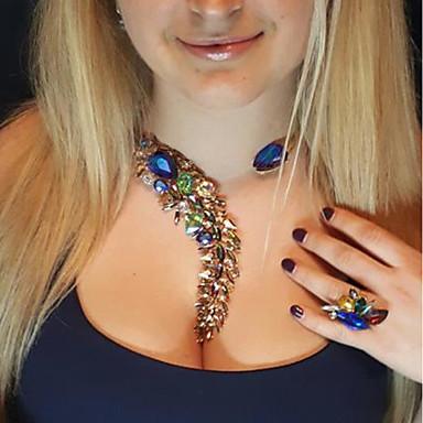 levne Dámské šperky-Dámské Safír Křišťál Citrín Obojkové náhrdelníky Prohlášení Náhrdelníky Y Náhrdelník Neshoda Alphabet Shape dámy Visací Cikánské Moderní Akrylát Slitina Modrá Růžová Světle modrá 33 cm Náhrdelníky