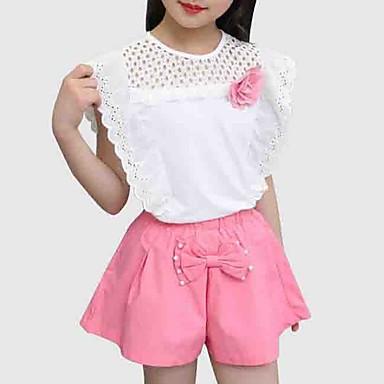 זול סטים של ביגוד לבנות-סט של בגדים שרוולים קצרים טלאים פרחוני / טלאים ליציאה סגנון רחוב בנות ילדים