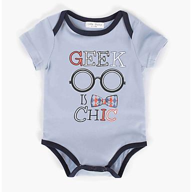 preiswerte BabyJungenoverall-Baby Jungen Grundlegend Alltag Druck Print Kurze Ärmel Baumwolle Body Blau