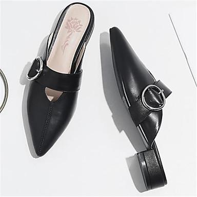 5a50717f633af [$49.99] Women's Cowhide Spring & Summer Comfort Clogs & Mules Low Heel  Pointed Toe Black / Beige / Brown