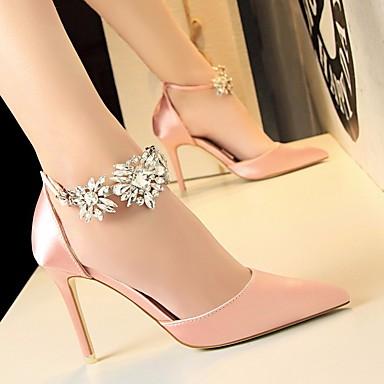 cheap Women's Heels-Women's Heels Glitter Crystal Sequined Jeweled Stiletto Heel Satin Basic Pump Summer Red / Pink / Green / EU36