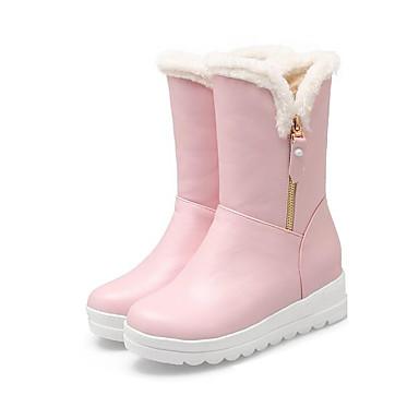 voordelige Dameslaarzen-Dames Laarzen Platte hak PU Snowboots / Fluff Lining Herfst winter Wit / Zwart / Roze / EU39