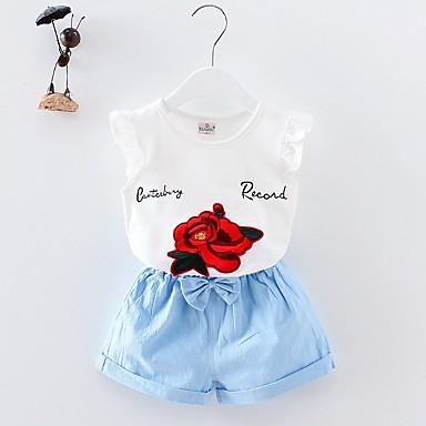 povoljno Odjeća za bebe-Dijete Djevojčice Osnovni Dnevno Geometrijski oblici Kratkih rukava Kratka Pamuk Komplet odjeće Plava / Dijete koje je tek prohodalo