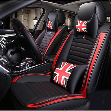 voordelige Auto-interieur accessoires-5 zitplaatsen met twee hoofdsteunen, twee heupkussens en één stuurhoes vier seizoenen universele zwart-rode cartoon autostoelhoes / pu leer / verstelbaar en afneembaar.