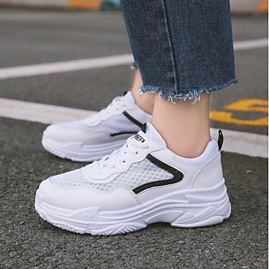 361154855 للمرأة أحذية PU خريف مريح أحذية رياضية كعب مسطخ أمام الحذاء على شكل دائري  أبيض / أسود 6717292 2019 – $29.99