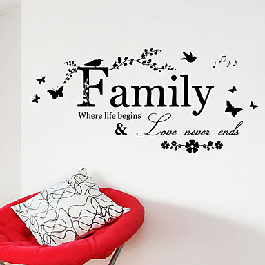 cheap Wall Stickers-Decorative Wall Stickers - Words & Quotes Wall Stickers Characters Living Room / Bedroom / Bathroom