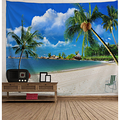 cheap Wall Tapestries-Wall Tapestry Art Decor Blanket Curtain Picnic Tablecloth Hanging Home Bedroom Living Room Dorm Decoration Holiday Vacation Landscape Sea Ocean Beach Coconut Tree