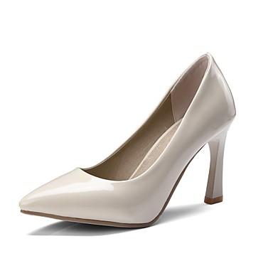 [$24.25] Damen Schuhe PU Frühling Sommer Pumps High Heels Blockabsatz Spitze Zehe Schwarz Beige Rot