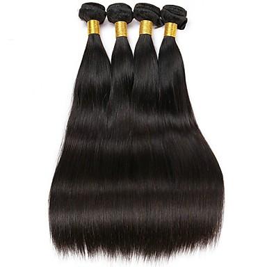 povoljno Ekstenzije od ljudske kose-4 paketića Indijska kosa Ravan kroj Ljudska kosa Netretirana  ljudske kose Ljudske kose plete Produžetak Jedan Pack Solution 8-28 inch Prirodna boja Isprepliće ljudske kose Modni dizajn Cosplay New