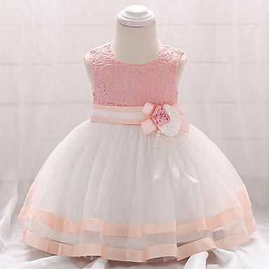 povoljno Odjeća za bebe-Dijete Djevojčice Vintage Izlasci / Kamado roštilj Kolaž Bez rukávů Do koljena Pamuk Haljina Blushing Pink