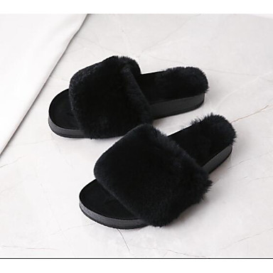 f83f8f942fbfae Women s Rabbit Fur Spring   Summer   Fall   Winter Comfort Slippers   Flip-Flops  Flat Heel Black   Army Green   Pink 6770363 2019 –  39.99