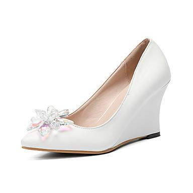 Mujer Zapatos PU Primavera verano D'Orsay y Dos Piezas Zapatos de boda Tacón Stiletto Dedo Puntiagudo Cristal / Purpurina Blanco / Boda CsjGuoDN
