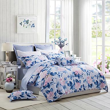 [$122 99] Duvet Cover Sets Floral 100% Supima Cotton Printed 4 PieceBedding  Sets / 200 / 4pcs (1 Duvet Cover, 1 Flat Sheet, 2 Shams)