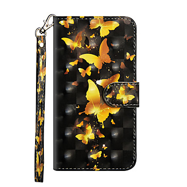 Etui Til Apple iPhone X / iPhone 8 Plus / iPhone 8 Lommebok / Kortholder / med stativ Heldekkende etui Sommerfugl Hard PU Leather