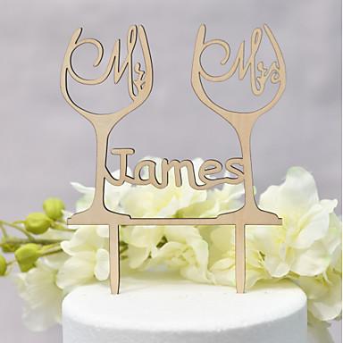 povoljno Svadbeni pir-Figure za torte Klasični Tema / Vjenčanje Ljubav Drvo / Bambus Vjenčanje / godišnjica s 1 pcs OPP