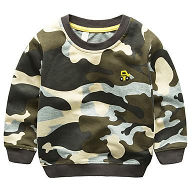 povoljno Odjeća za dječake-Djeca Dječaci Osnovni Dnevno Color block Vezeno Dugih rukava Regularna Pamuk Trenirka s kapuljačom Vojska Green